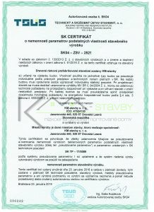 Certifikát KM- stavby s.r.o
